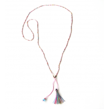 sendy glass bead necklace with small tassel Zojora    travel inspired 